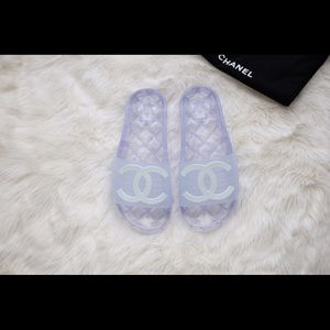 Chanel PVC Jelly Translucent Pool Slide Sandals 38
